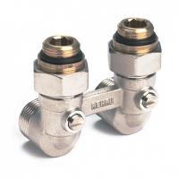 Блок шаровых кранов Rehau G1/2xG3/4 с соединительным нипелем, угловой