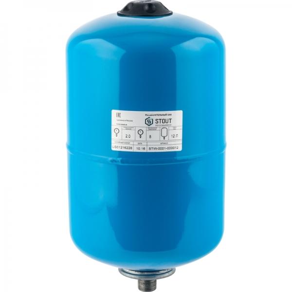 Гидроаккумулятор для водоснабжения (STOUT) Varem, 20 л, вертикальный, синий, сменная мембрана фото 1