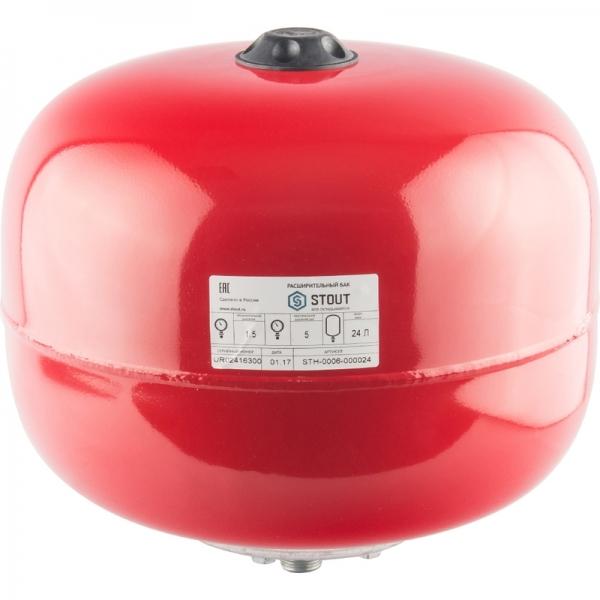 Расширительный бак для отопления (STOUT) Varem, 24 л, красный фото 1