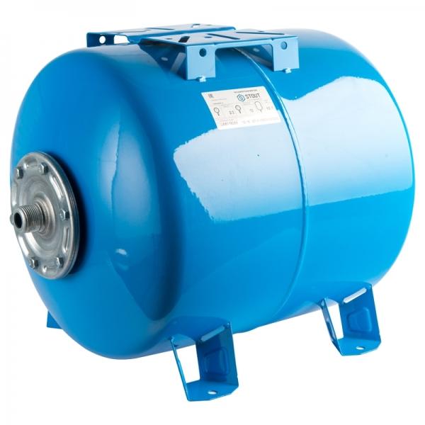 Гидроаккумулятор для водоснабжения (STOUT) Varem, 50 л, горизонтальный, синий, сменная мембрана фото 1