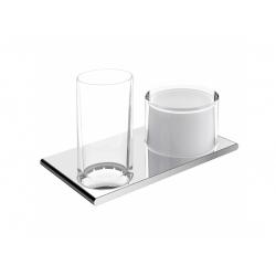 : фото Двойной держатель со стаканом и дозатором жидкого мыла Keuco Edition 400 11553019000