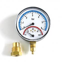 ": фото Термоманометр радиальный 1/2"" х 10 бар (80мм), Watts FR 828 (TMRA)"